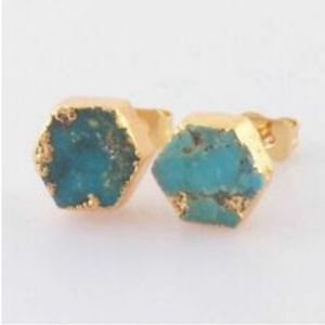 Genuine Natural Hexagon Turquoise Gold Earrings